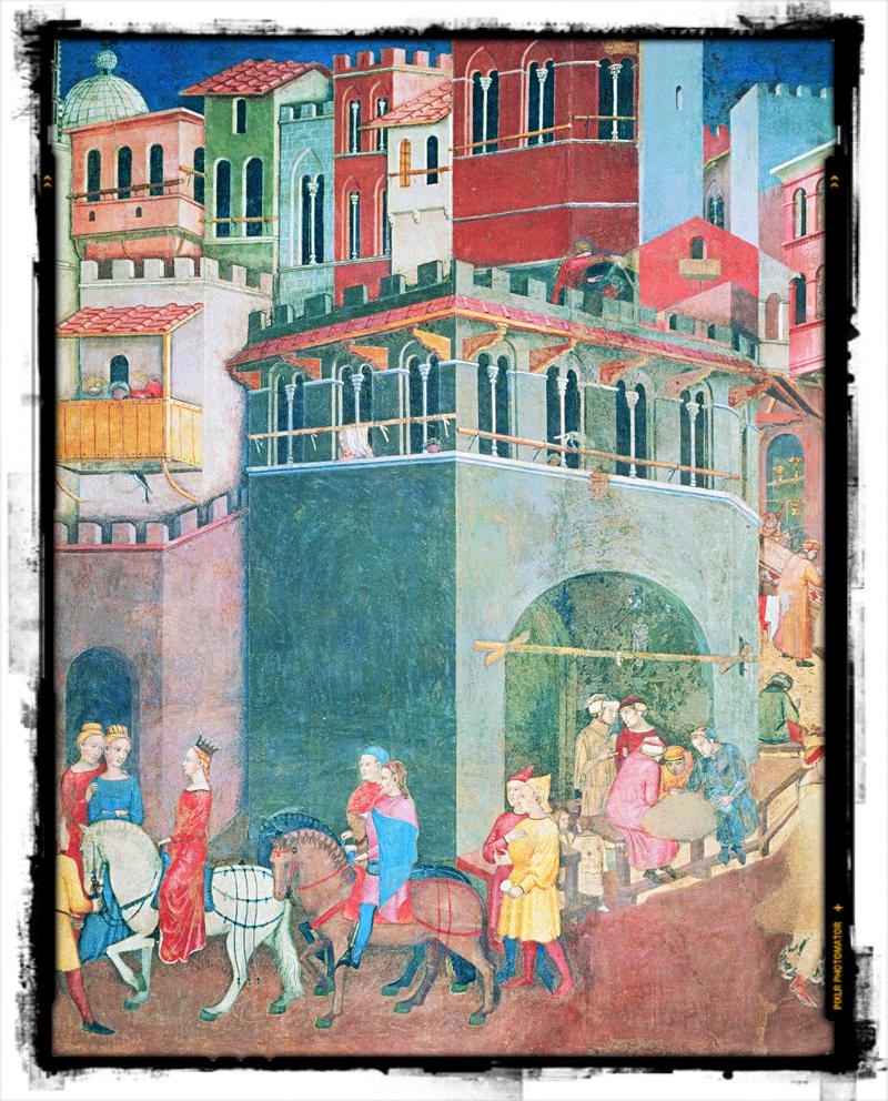 """Ambrogio Lorenzetti, """"Allegoria ed Effetti del Buono e del Cattivo Governo"""" (Palazzo Pubblico di Siena, 1338-1339)."""